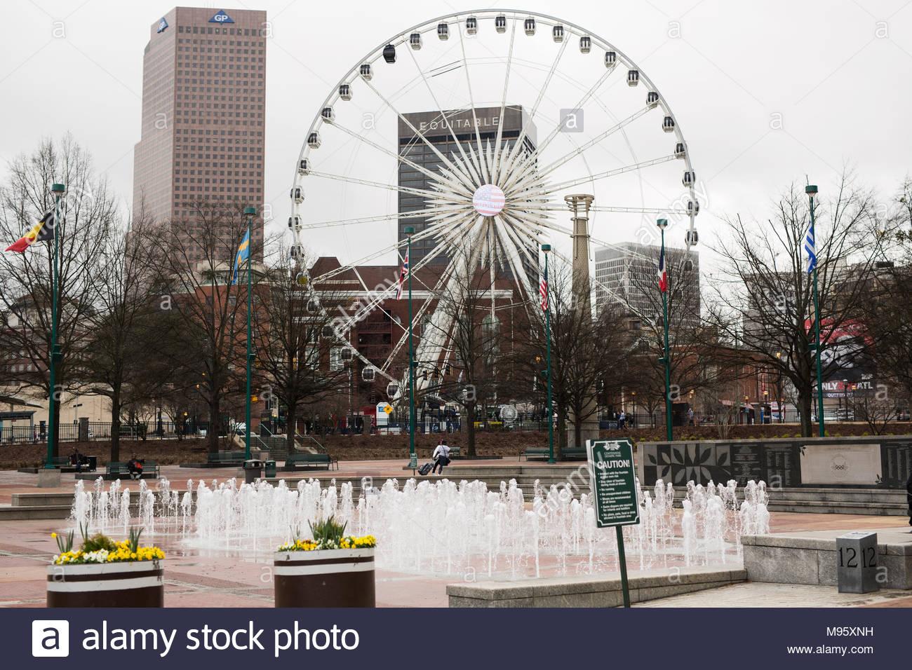 Atlantas Centennial Olympic Park fountain with its ferris wheel 1300x956