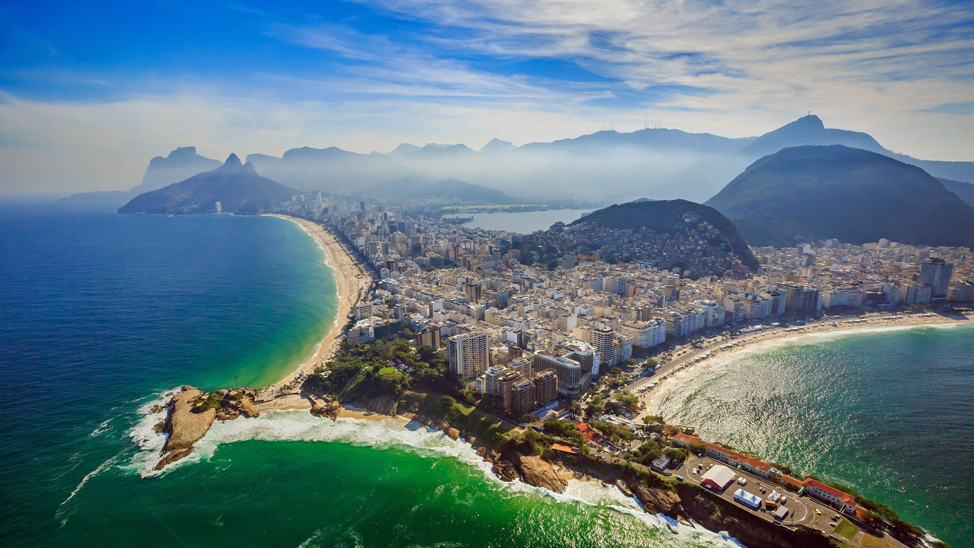 Rio De Janeiro Copacabana Beach And Ipanema Beach Aerial View 3840x2160
