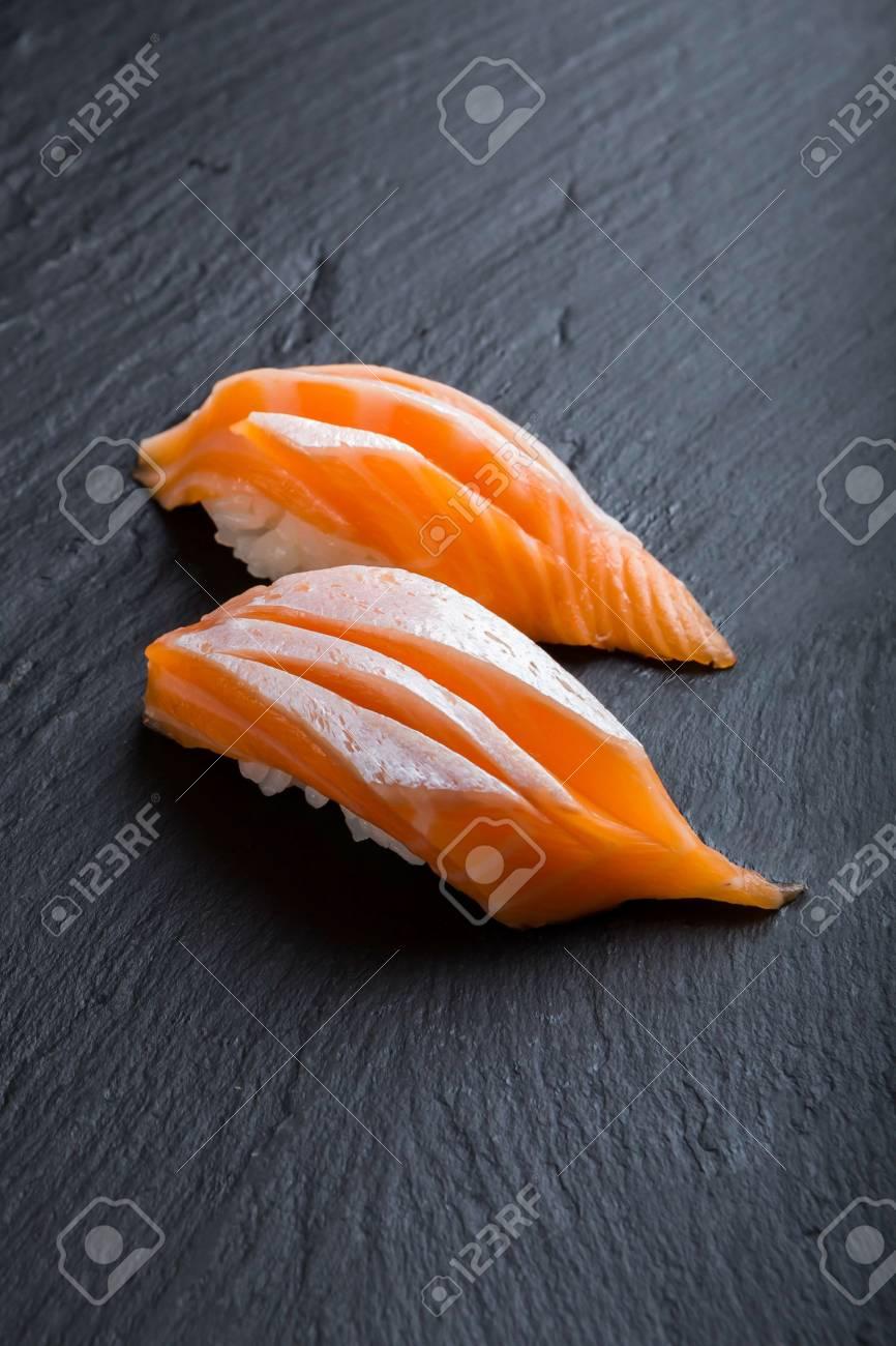 Japanese Food Menusushi Salmon ToroOn A Black Background Stock 866x1300
