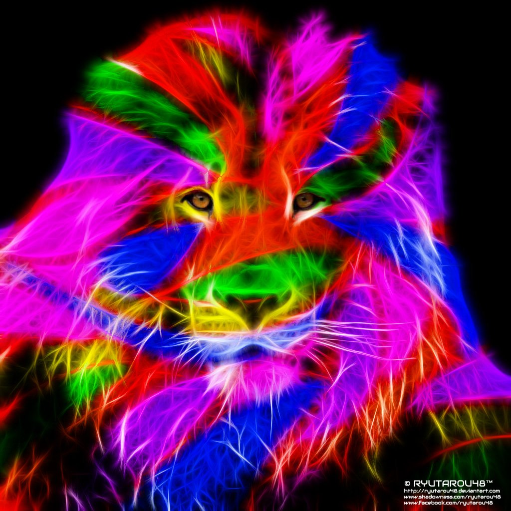 Rainbow Lion Wallpaper 1024x1024