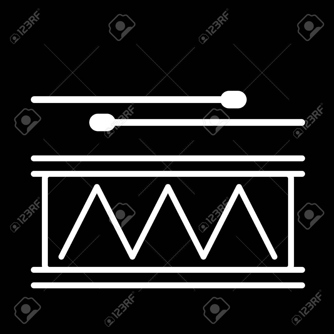 Drum Line Art Vector Icon Isolated On A Black Background Royalty 1300x1300