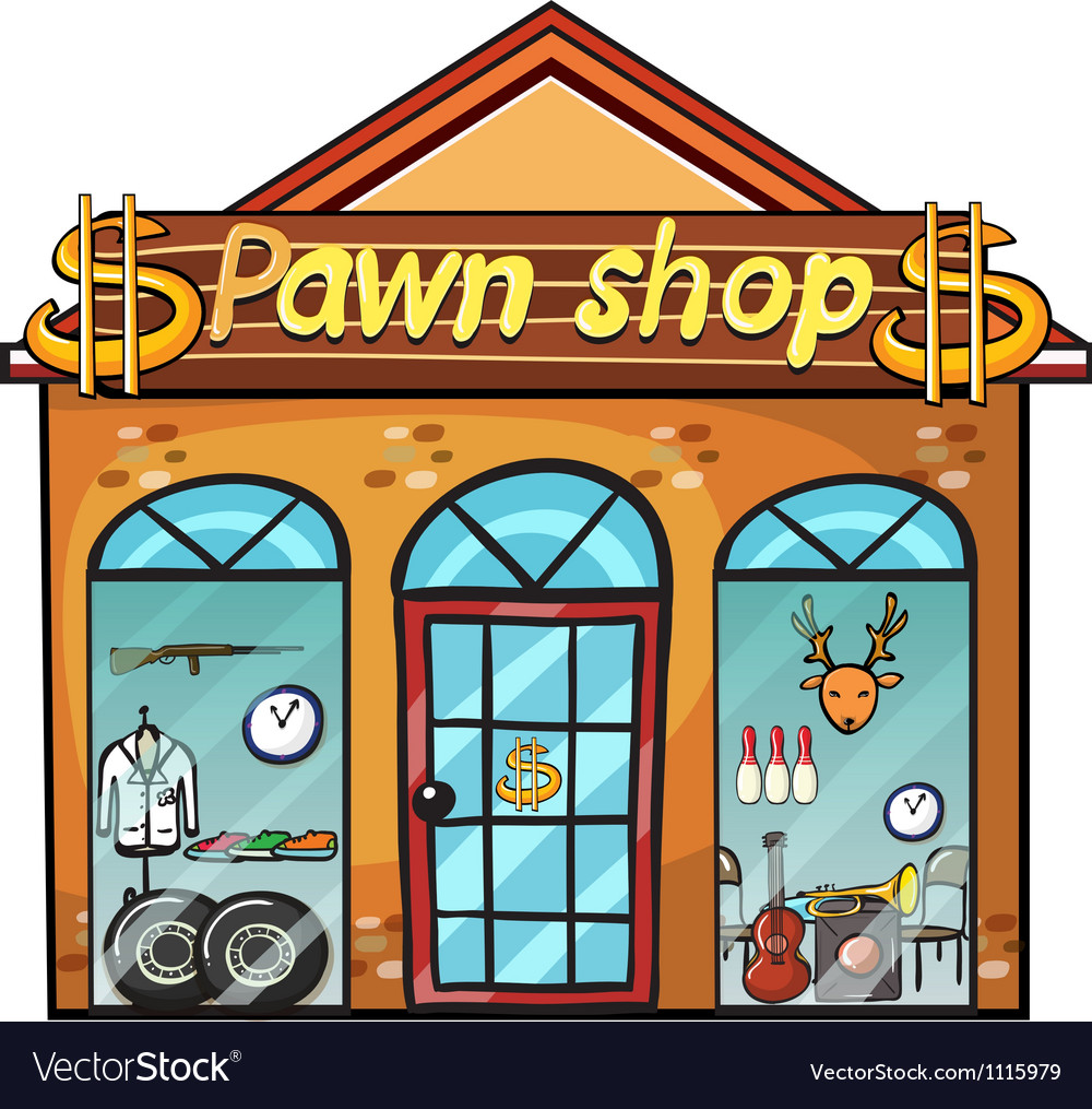 Pawnshop on a white background Royalty Vector Image 1000x1015