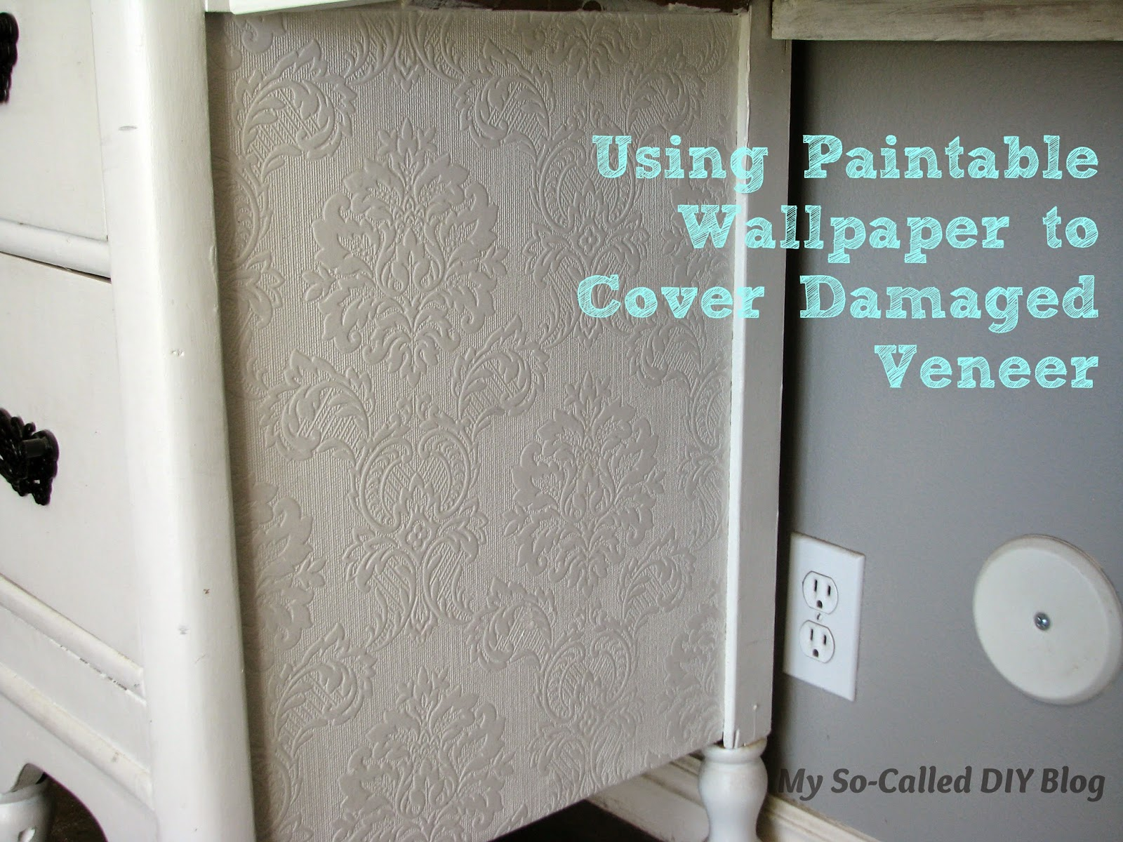 So Called DIY Blog Using Paintable Wallpaper to Cover Damaged Veneer 1600x1200