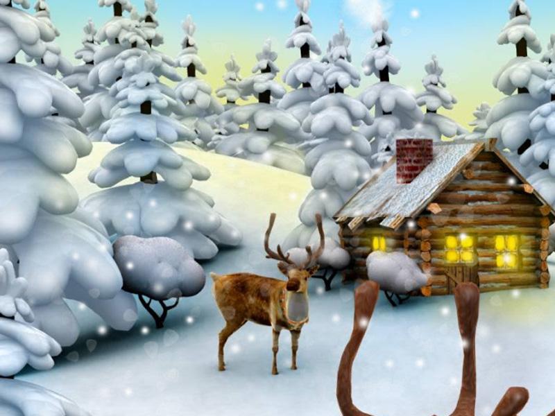 7art Deer Christmas Clock screensaver   feel the magic of the coming 800x600