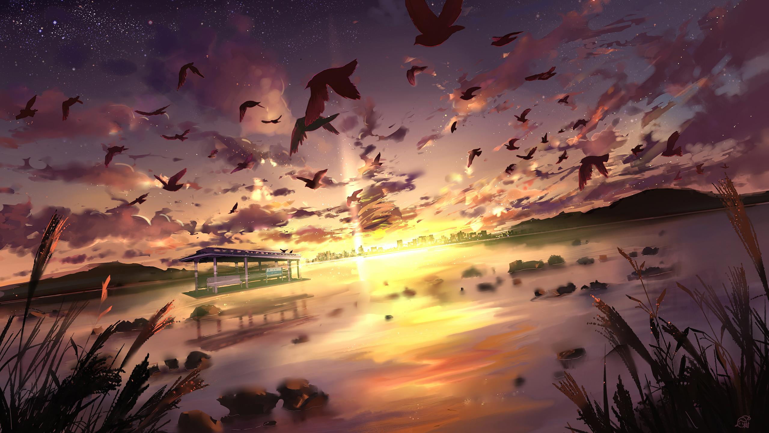 Anime Scenery Wallpaper   Anime Landscape 491322   HD Wallpaper 2559x1440