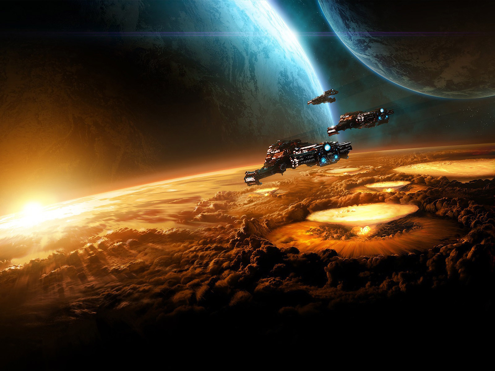 Download High quality sun rise Science Fiction Sci fi Wallpaper 1600x1200