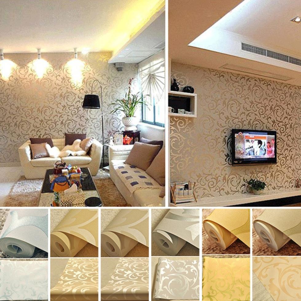 Sale PVC Metallic Floral Damask Wallpaper Design Modern Vintage Wall 980x980