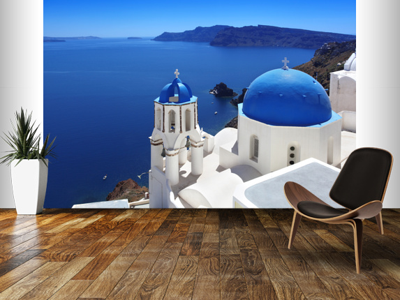Santorini with Traditional Church in Oia Greece wallpaper mural room 573x430