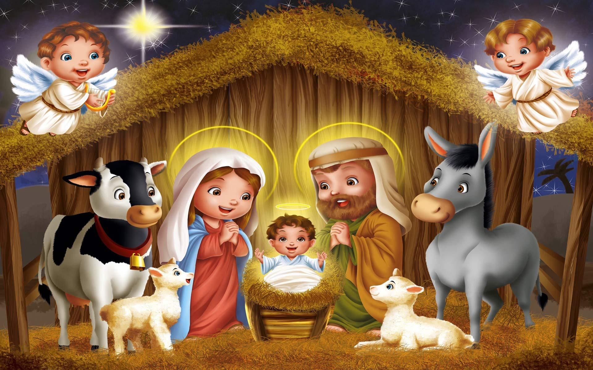 Christmas Nativity Scene computer desktop wallpapers pictures 1920x1200