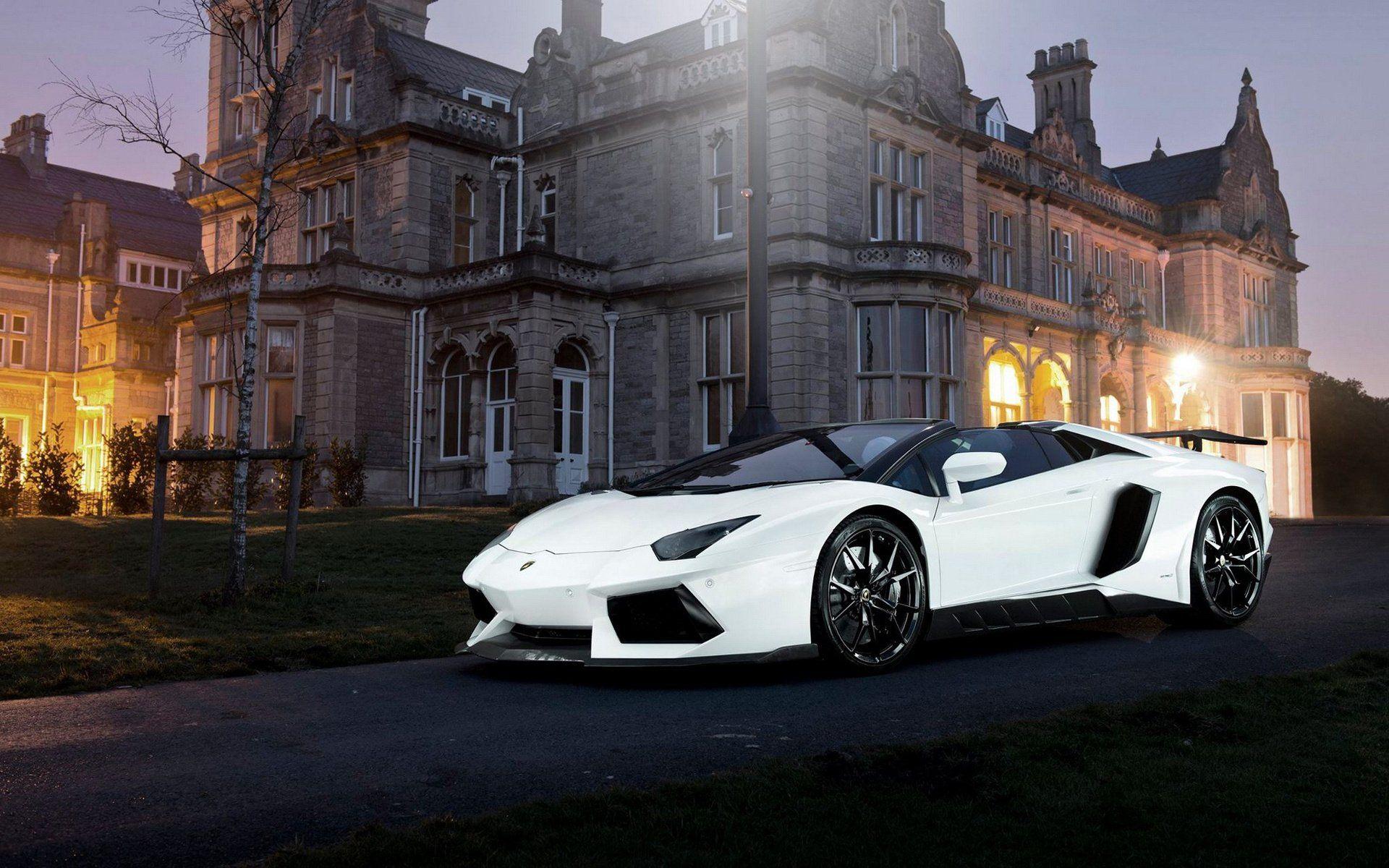 White Lamborghini Aventador LP 700 4 Stands Next To The Castle 1920x1200