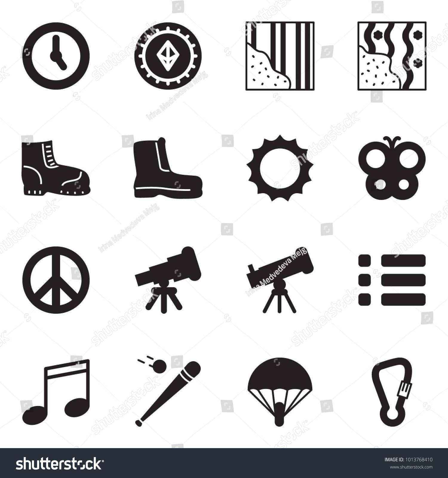 Solid Black Vector Icon Set Time Stock Vector Royalty 1500x1600