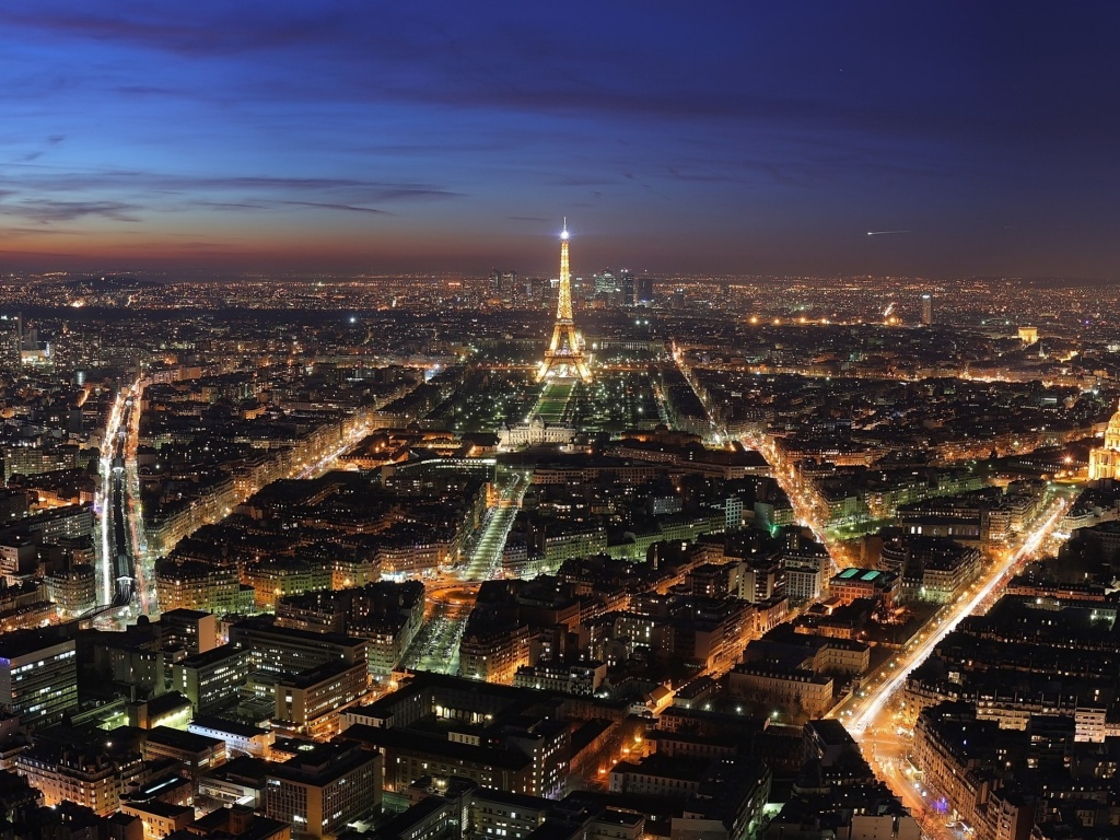 Paris Paris at Night Wallpaper 1024x768