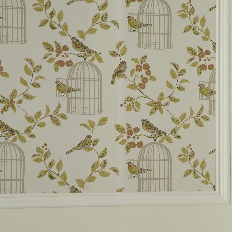 iLiv Shabby Chic Terracotta Songbird Wallpaper   10 Metres 1500x1500