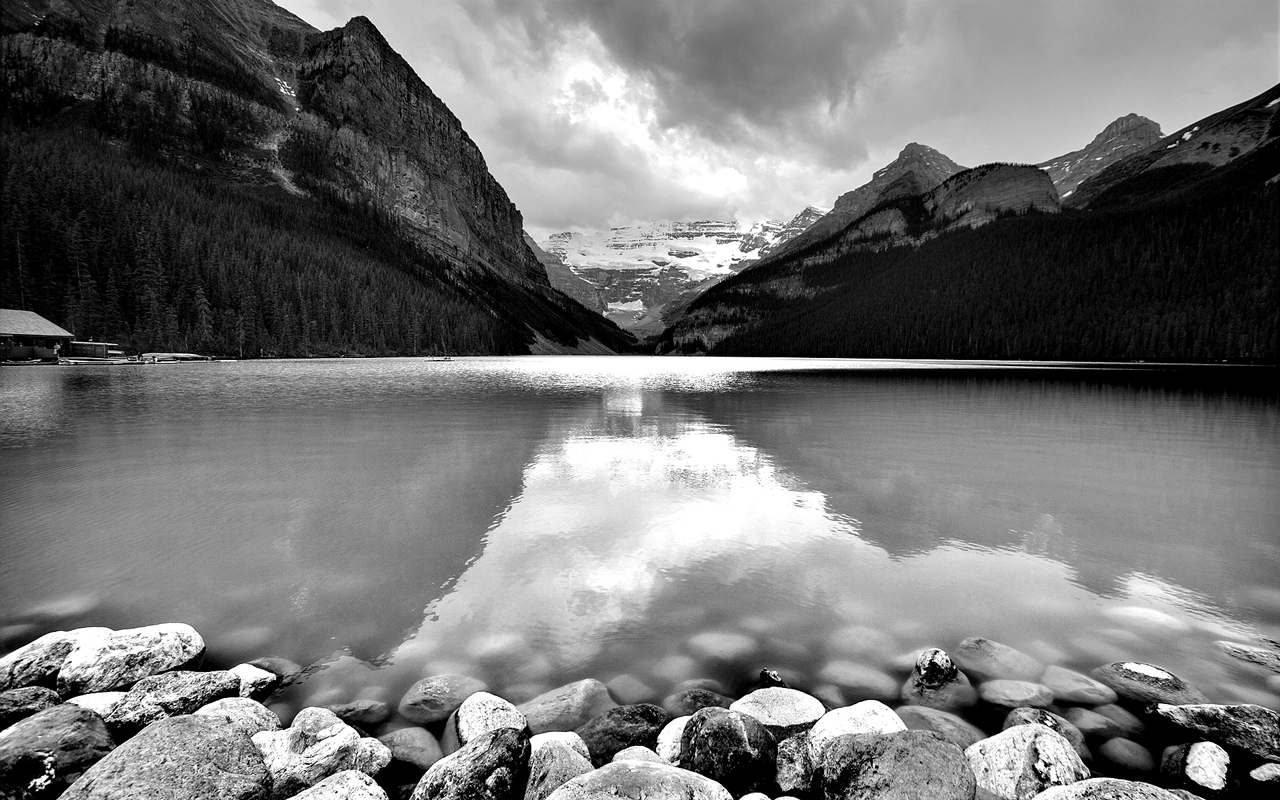 Lake In Mountains Black White Wallpaper Widescreen 1280x800
