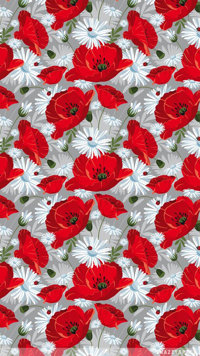Installing This Vintage Red Flowers IPhone Wallpaper Is Very Easy 640x1136