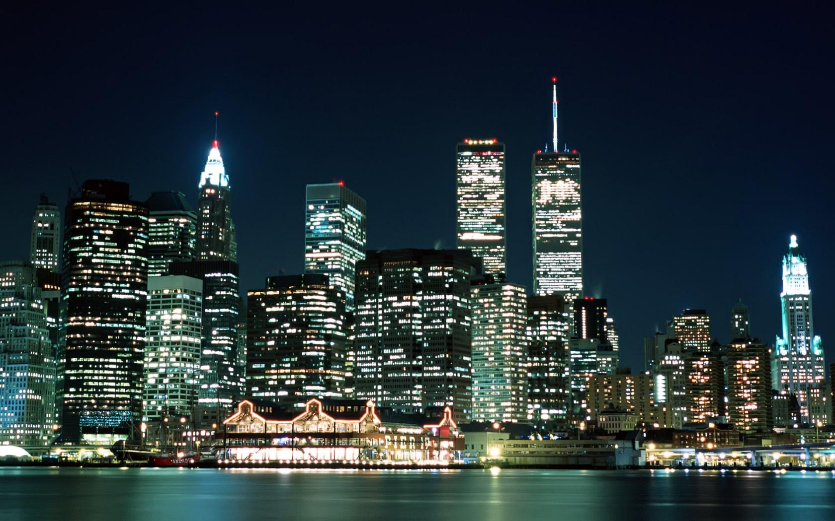 Free Download Manhattan Skyline At Night Wallpaper