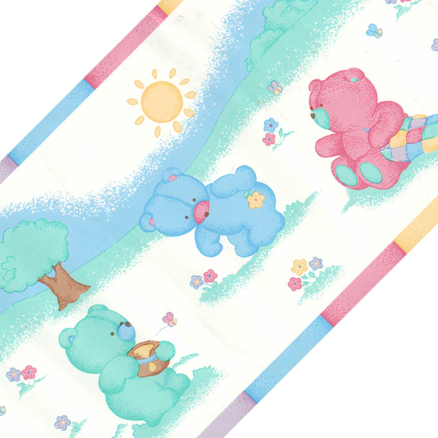 Colorful Bears Honey Bees Nursery Wallpaper Border Roll   Contemporary 640x640