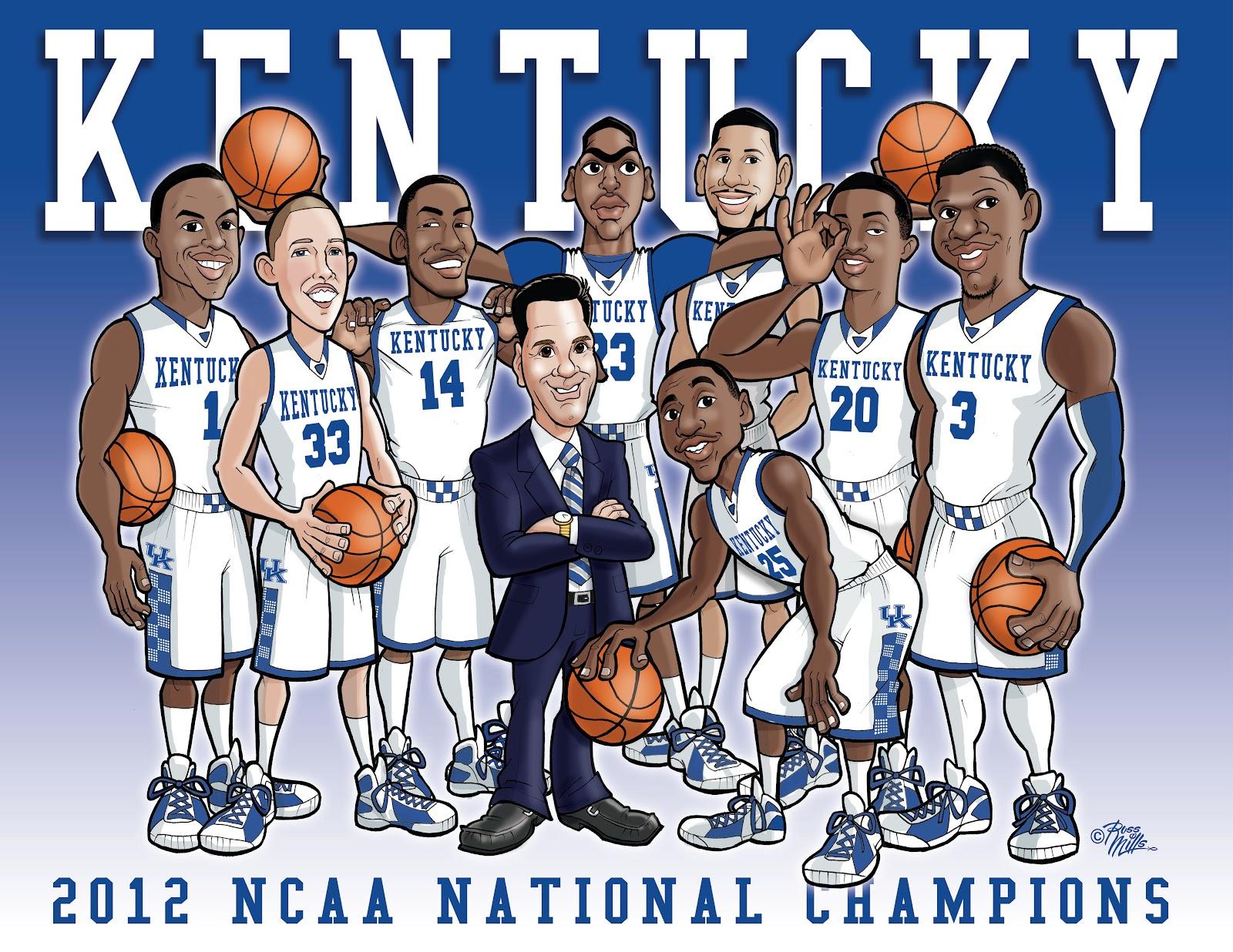 Russ Mills Art University of Kentucky Wildcats 2012 NCAA Basketball 1600x1236