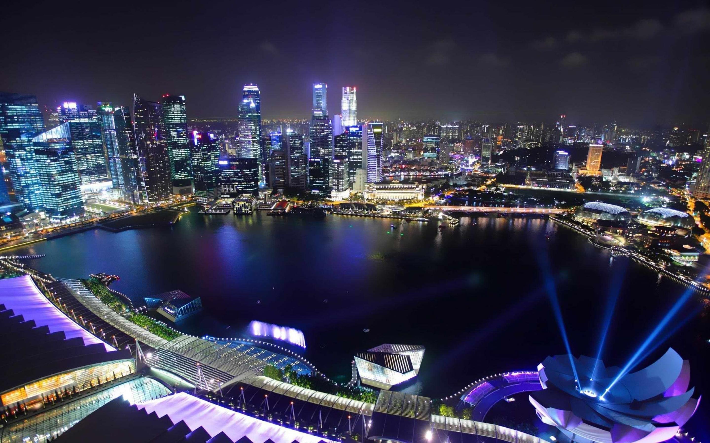 Singapore Cityscape At Night Wide Desktop Wallpaper 2880x1800
