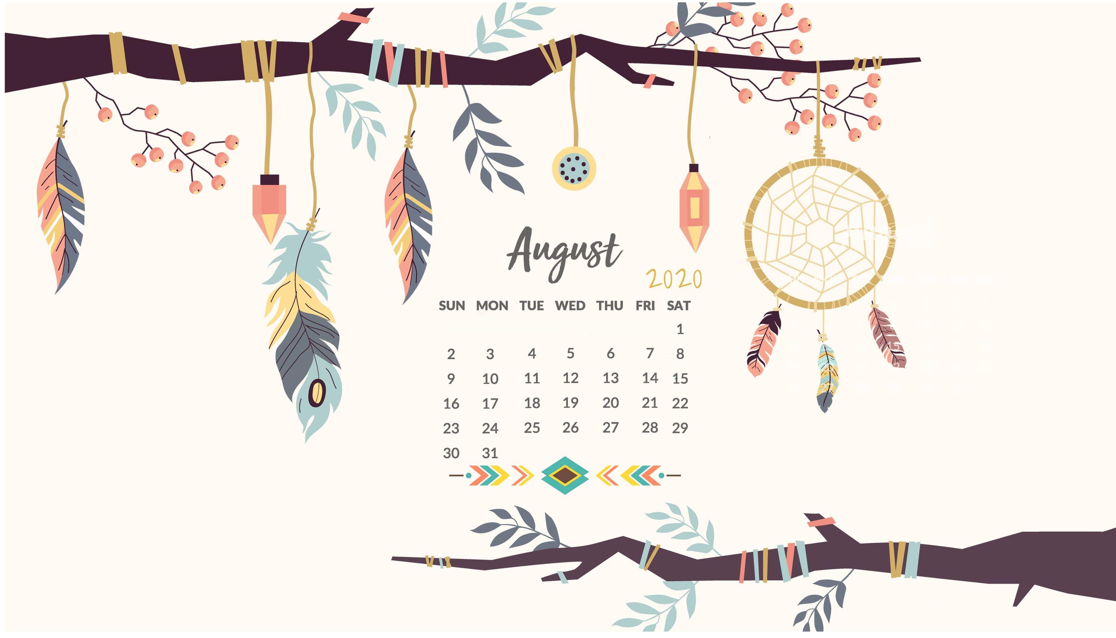 August 2020 Desktop Calendar Wallpaper Calendar wallpaper 3826x2190