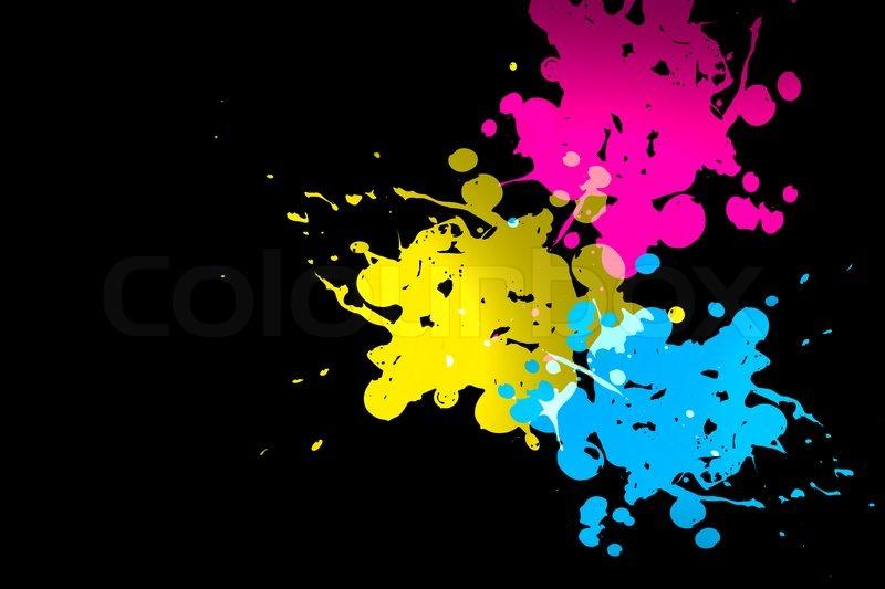 Stock Bild von Kleckse von Prozess  cyan magenta gelb auf schwarzem 800x533