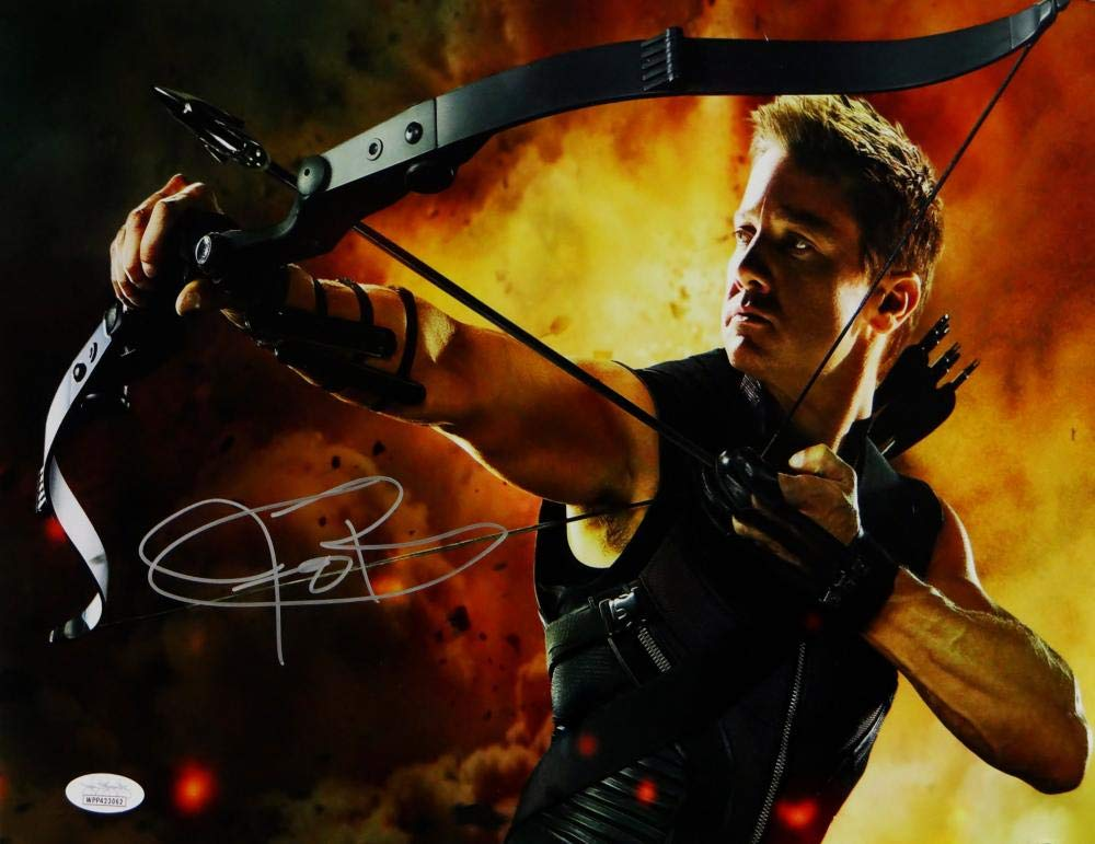 Jeremy Renner Autographed 11x14 Hawkeye Photo Fire Background  JSA 1000x771