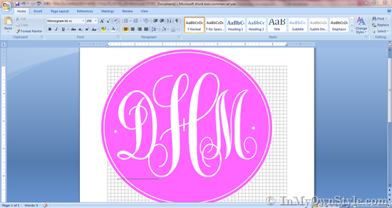 How To Create a Monogram Using Microsoft Word   In My Own Style 550x293