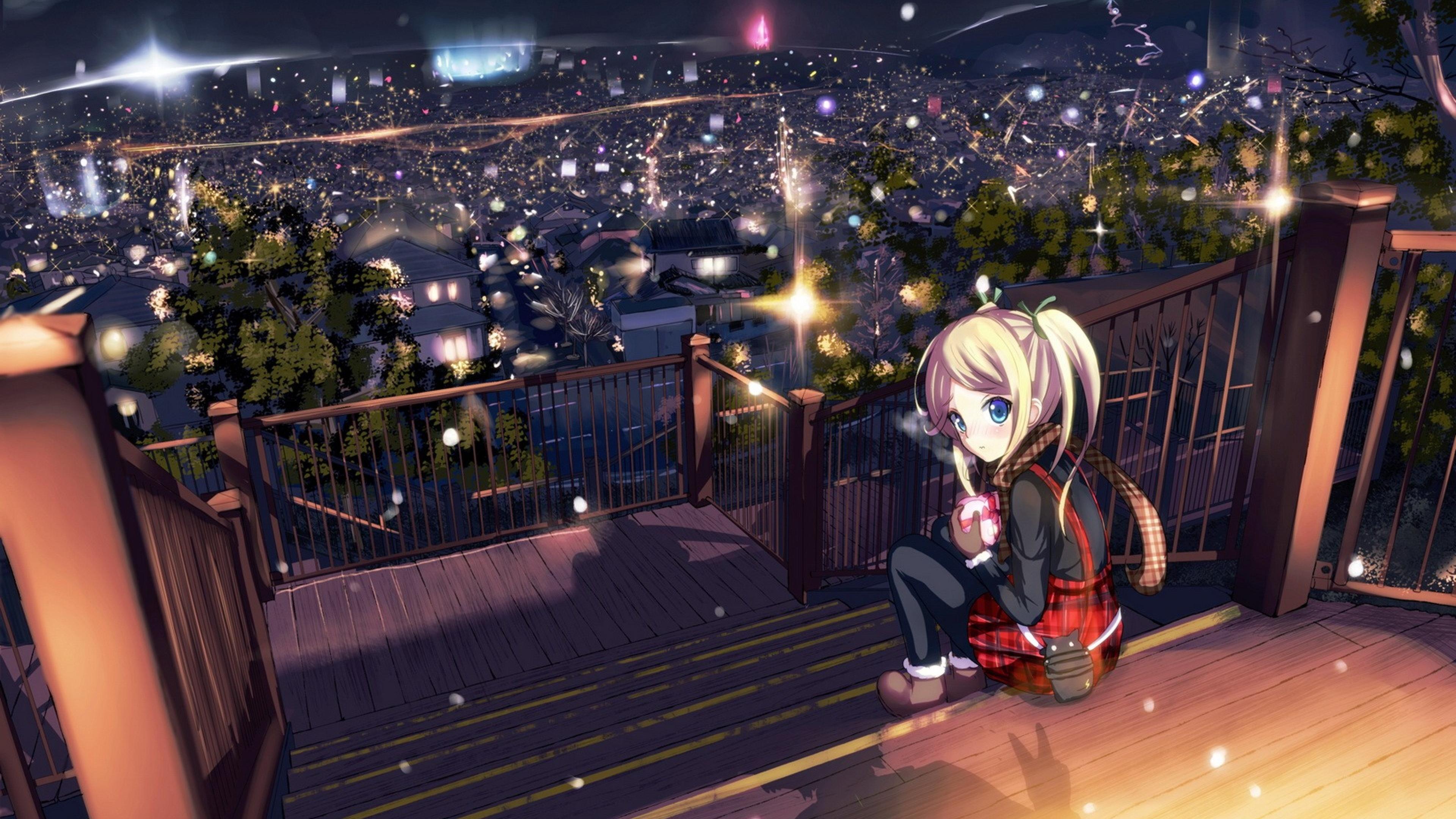 3840x2160 Wallpaper landscape blue anime 3840x2160