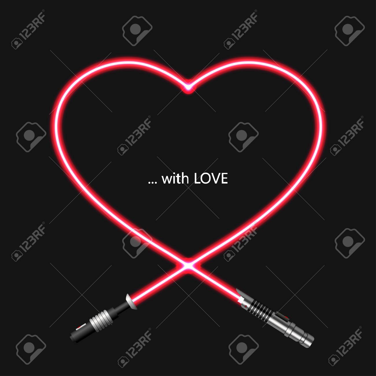 Vector Modern Concept Heart And Lightsaber For Valentines Day 1300x1300