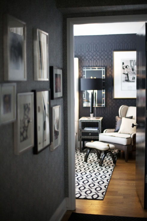 Schumachers Imperial Trellis wallpaper in Black available at walnut 490x735