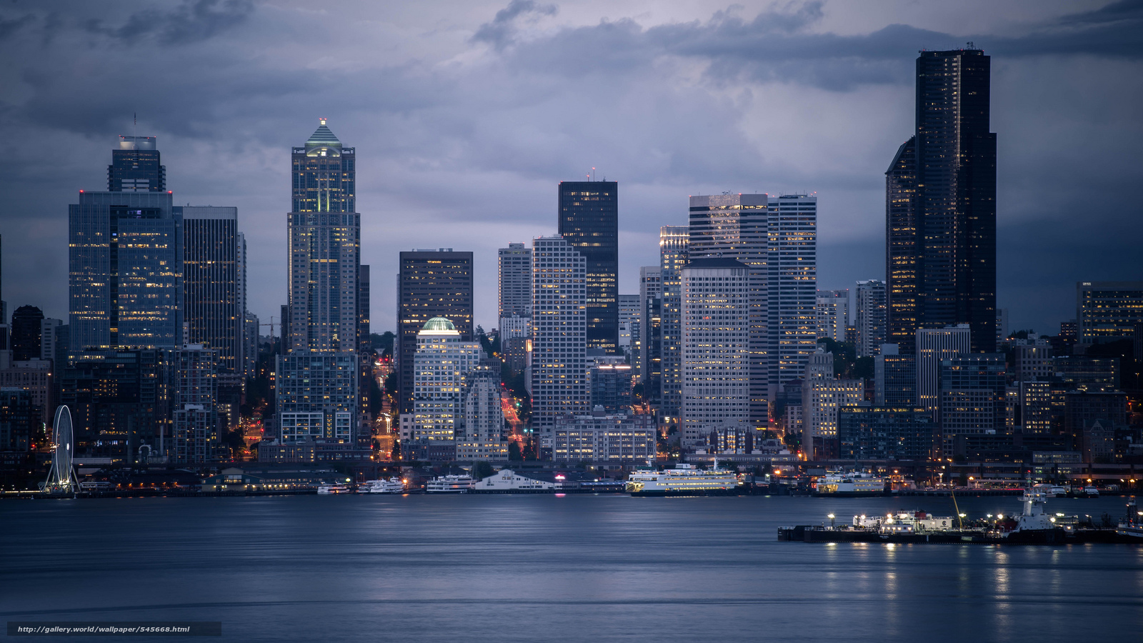 Free Download Wallpaper Seattle Skyline City Ships Evening