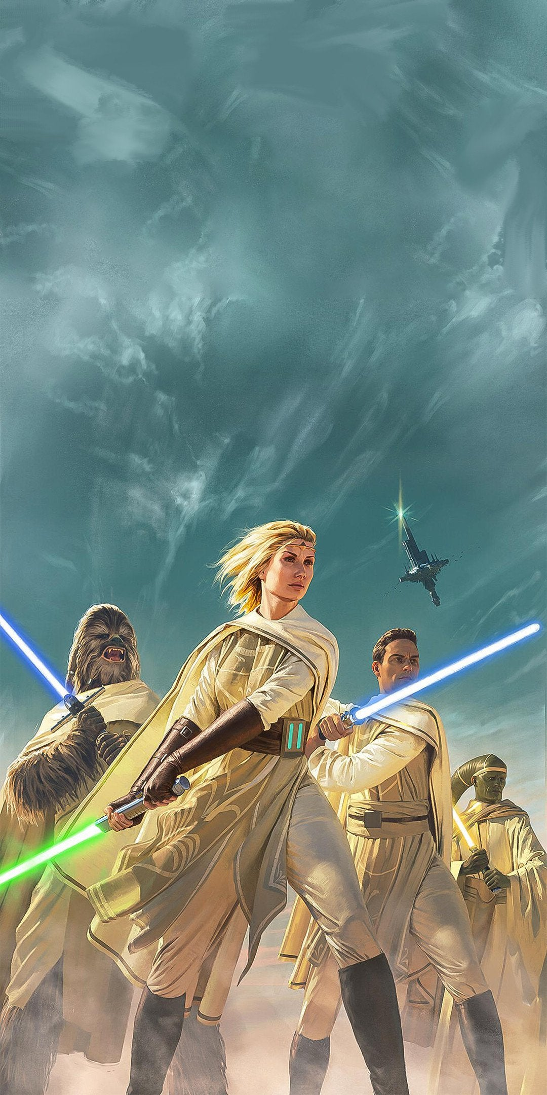 Did a quick Photoshop job on this Light of the Jedi wallpaper to 1080x2160