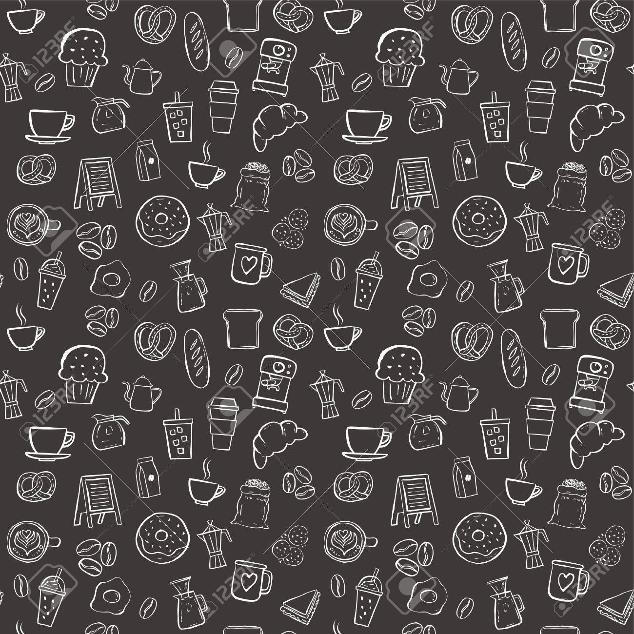 Coffee Shop Doodle Seamless Pattern Background Royalty 1300x1300