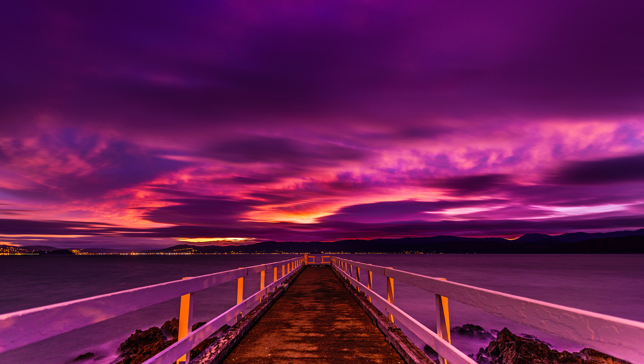 Purple Sunset over Pier Computer Wallpapers Desktop 2048x1158