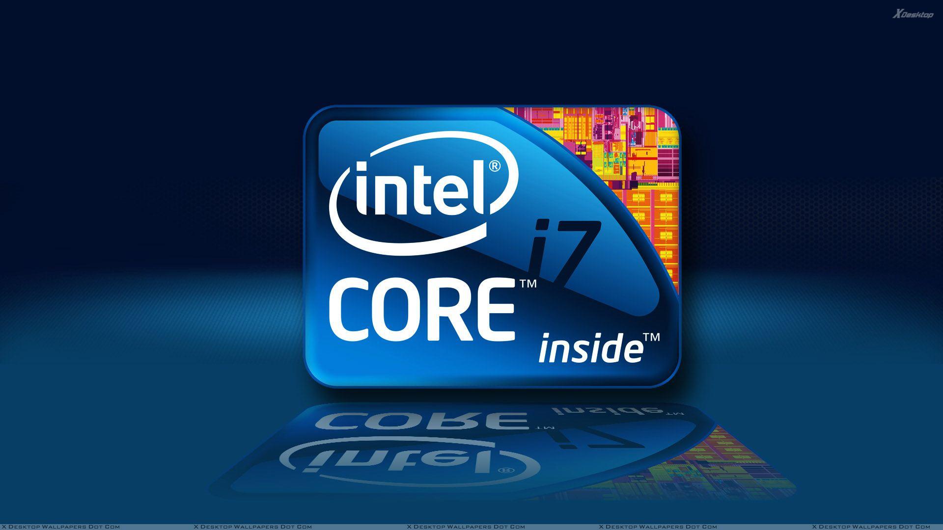 Intel Core i7 Processor On Blue Background Wallpaper 1920x1080