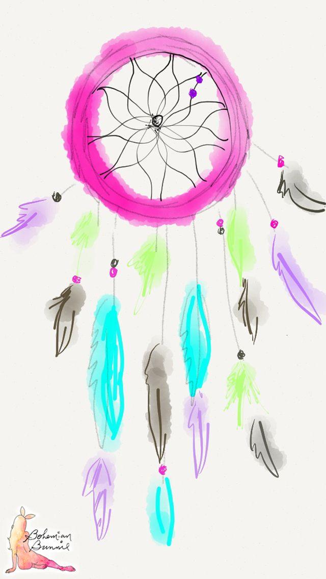 Boho Phones Wallpapers Fun Art Boho Pink Dreamcatcher Illustration 640x1136