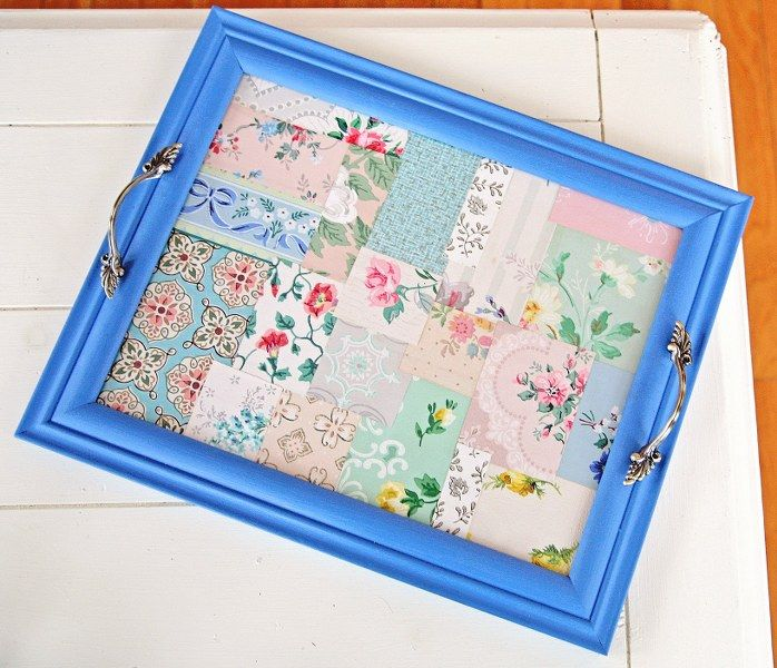 DIY Vintage Wallpaper Tray Vintage Everything Pinterest 698x600
