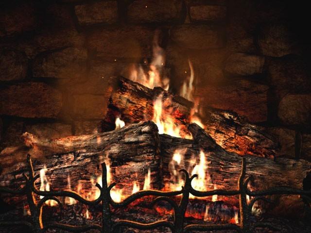 Living Fireplace Video Screensaver Christmas Fireplace 3D Screensaver 640x480
