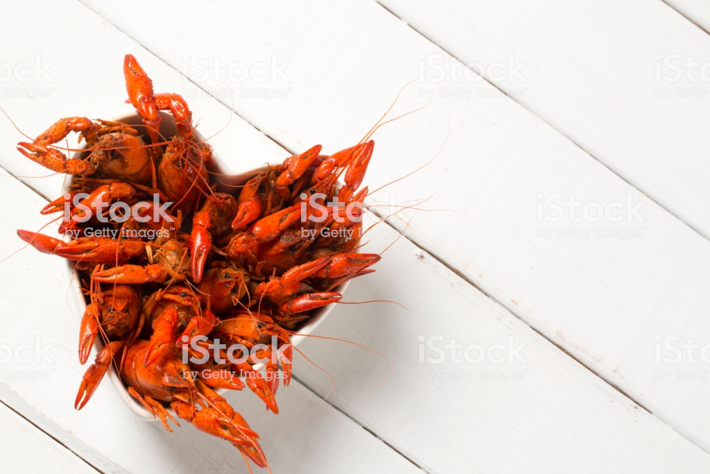 Boiled Crawfish In A Heart Shaped Bowl On A White Background Stock 1024x683