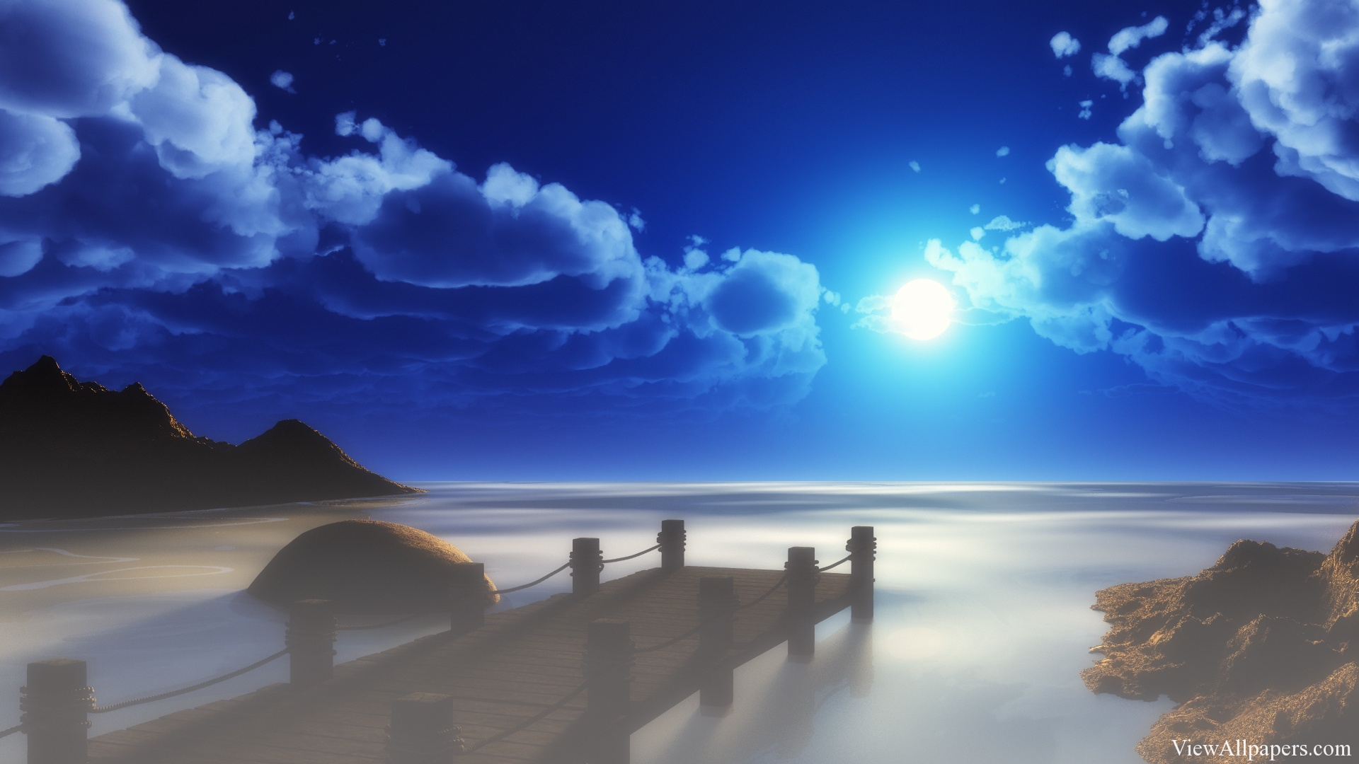 Beach At Night With Moon Beaches HD Wallpapers 1920x1080