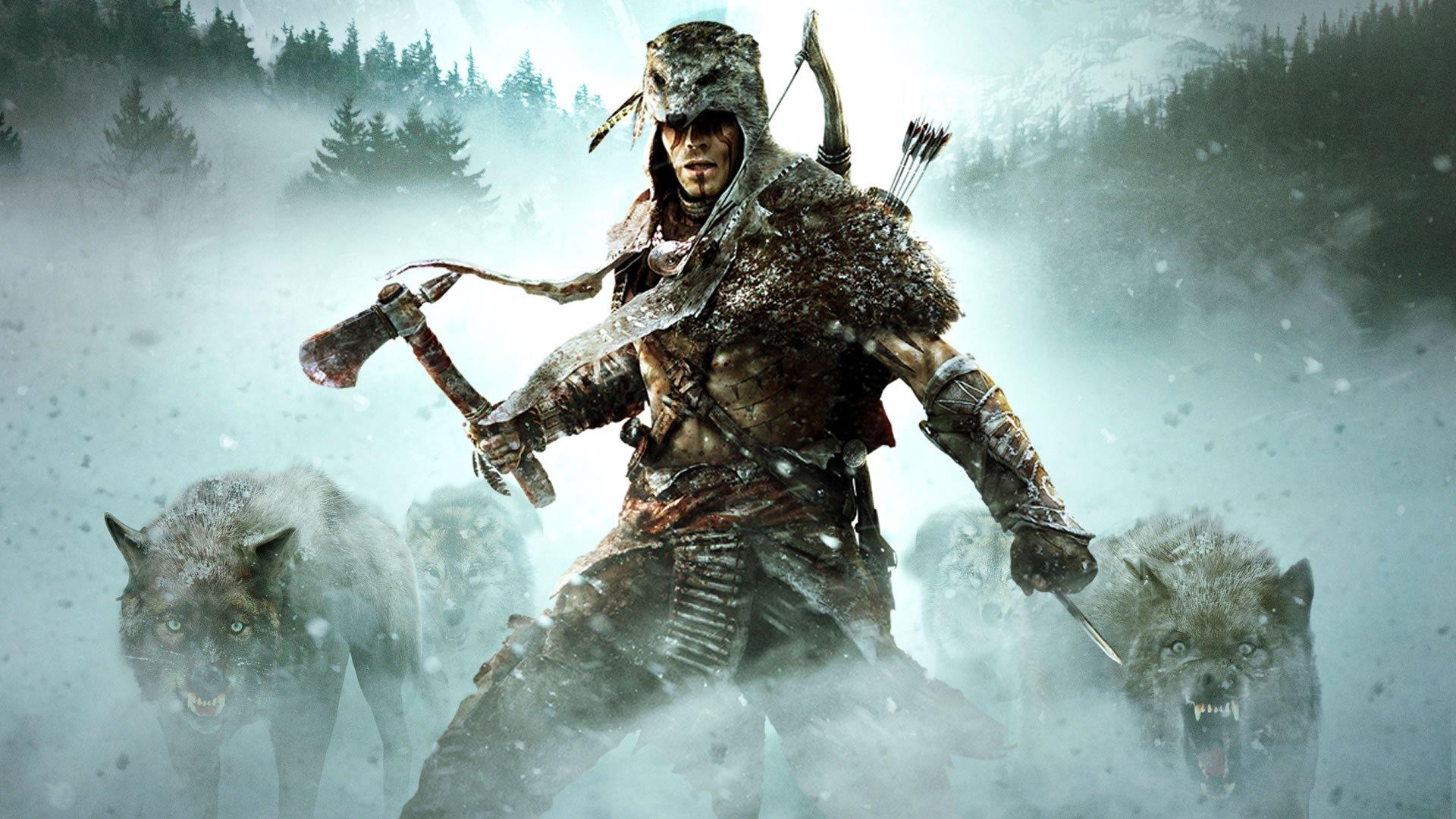 ASSASSINS CREED   snow hatchet arrow wolf wallpaper 1920x1080 1920x1080