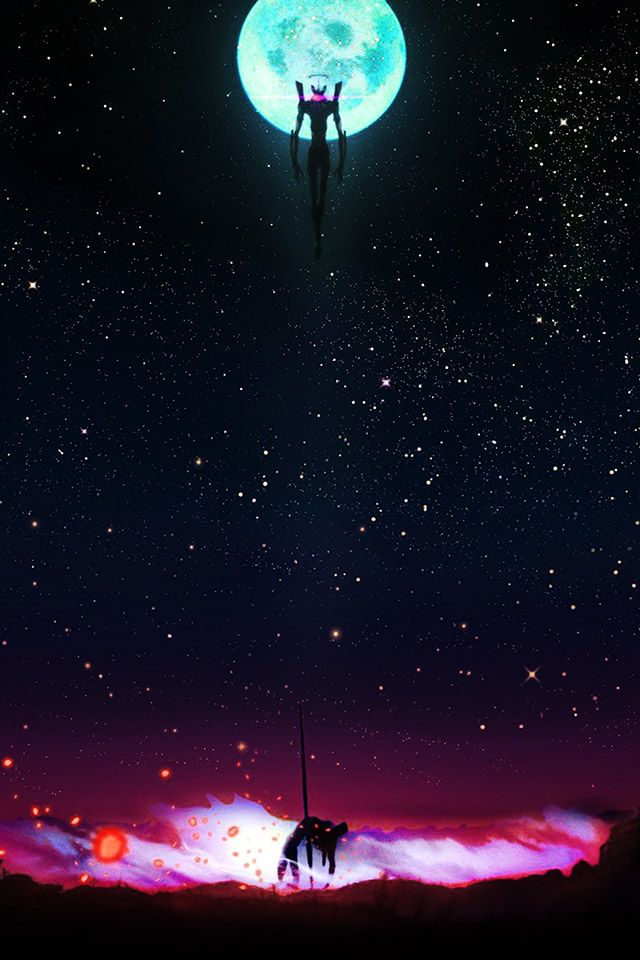 neon genesis night evangelion   parallax HD iPhone iPad wallpaper 640x960