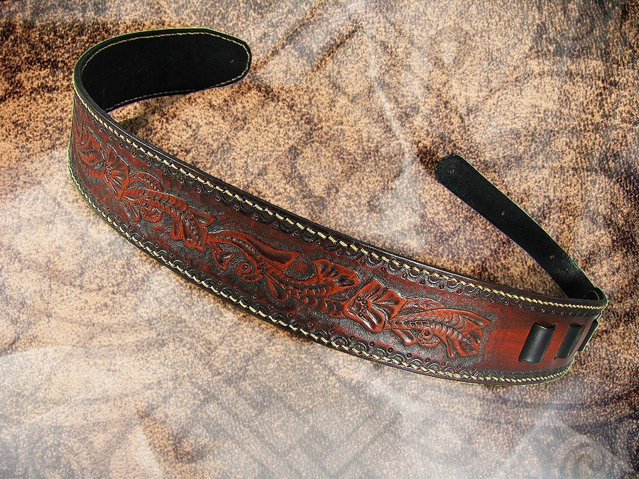 Spurred   Hand tooled Guitar Strap by LabyrinthLeather 900x675