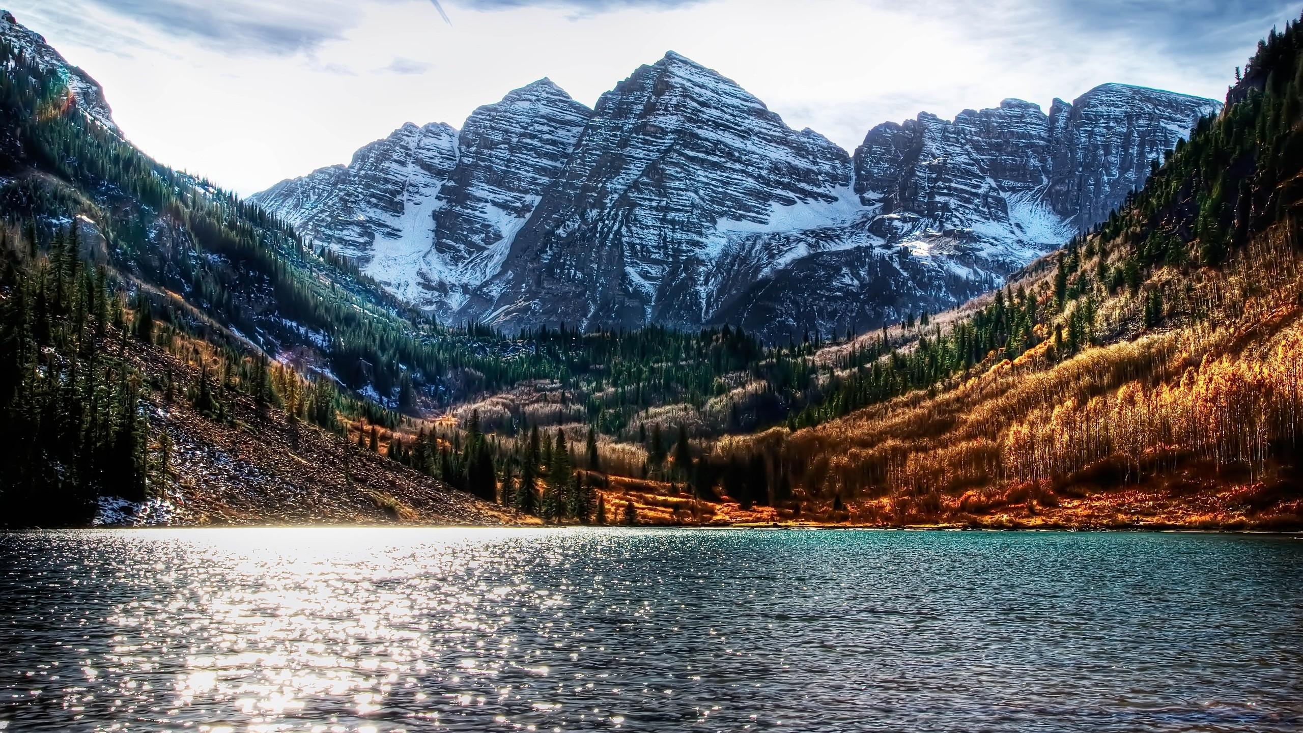 Colorado lakes HDR photography brightness Maroon Bells wallpaper 2560x1440