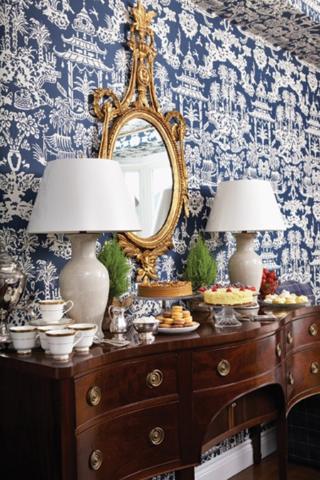 Chinoiserie Chic Blue and White Dining Room 450x676