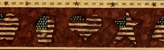 Americana Star and Hearts Wallpaper Border   Wallpaper Border 525x162