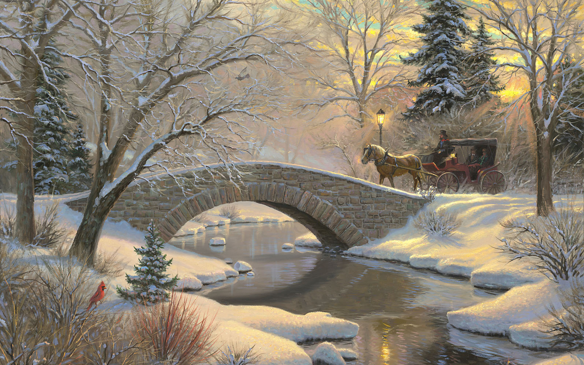 Wallpaper painting winter snow forest spruce bird river bridge 1920x1200