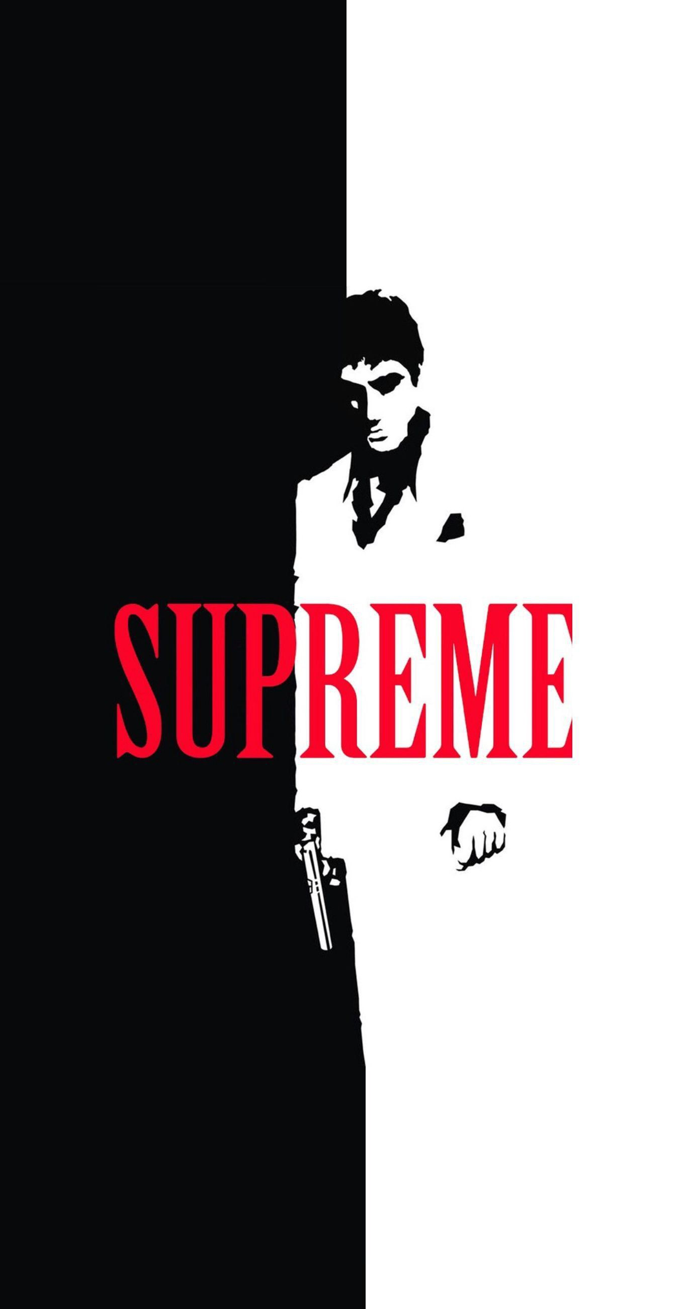 Scarface x Supreme Split IPhone Wallpaper Cool things 1370x2601