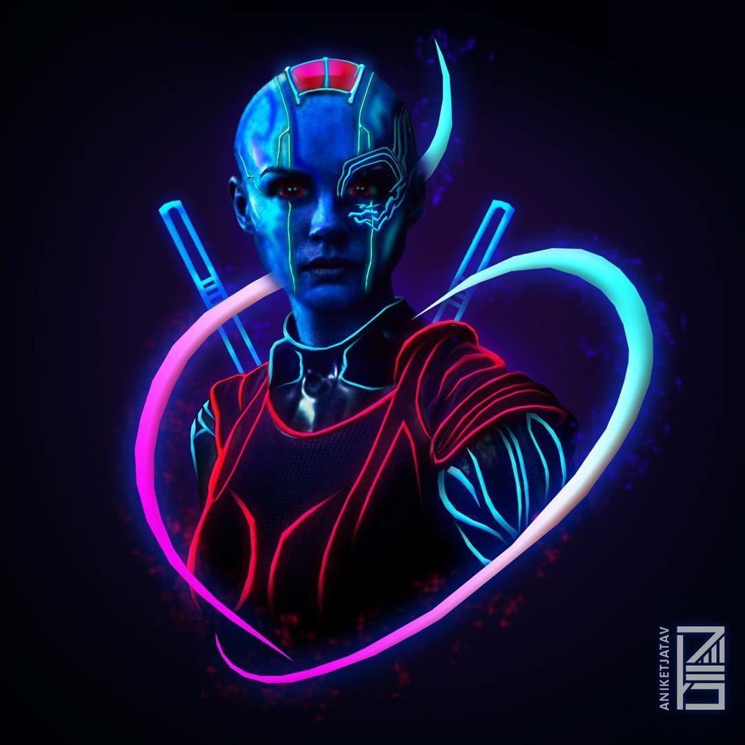 NebulaMarvel Neon Potraits Painting Nebula Marvel Marvel 1080x1080