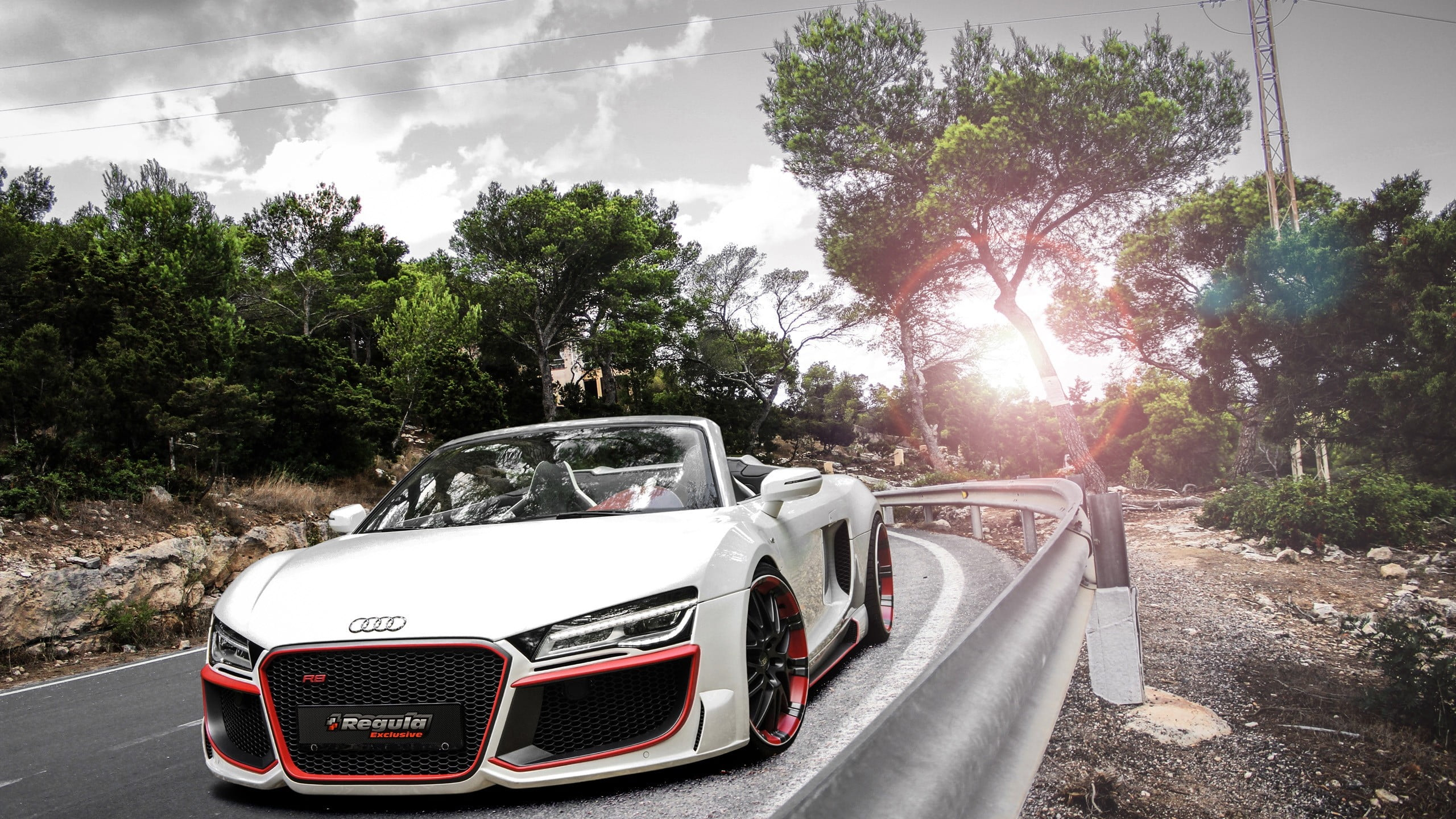 White and red Audi R8 GT Spyder on road HD wallpaper Wallpaper Flare 2560x1440